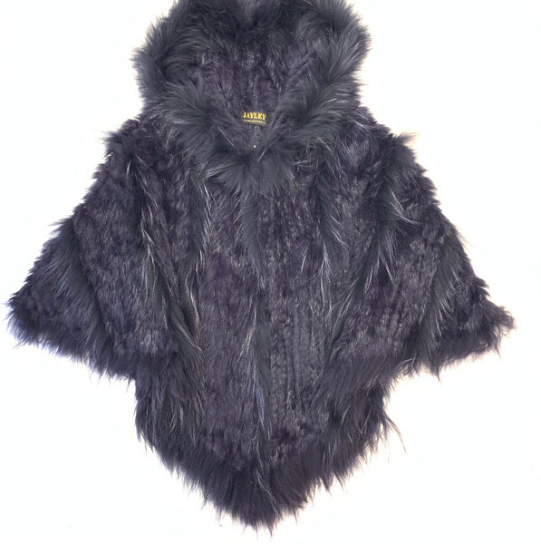 Jayley Navy Fox & Coney Fur Hooded Poncho - Dudes Boutique