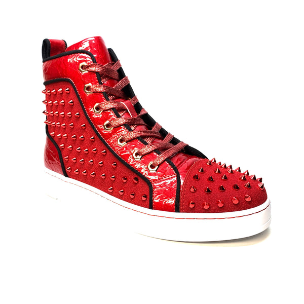 Fiesso Blood Red Spiked High-top Sneakers