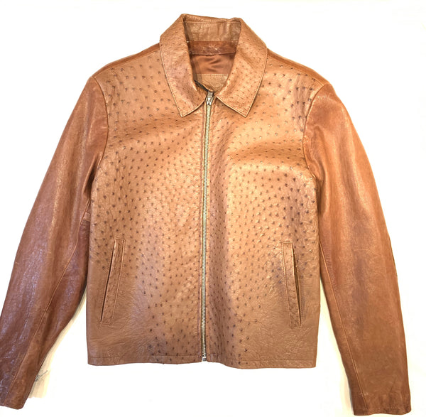 Kashani Chocolate Brown Ostrich Quill/Lamb Skin Bomber Jacket