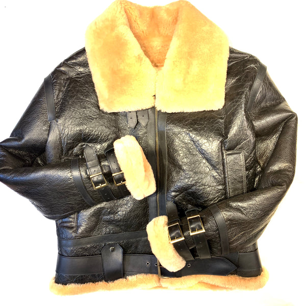 Kashani Black Aviator Flight Shearling Jacket - Dudes Boutique
