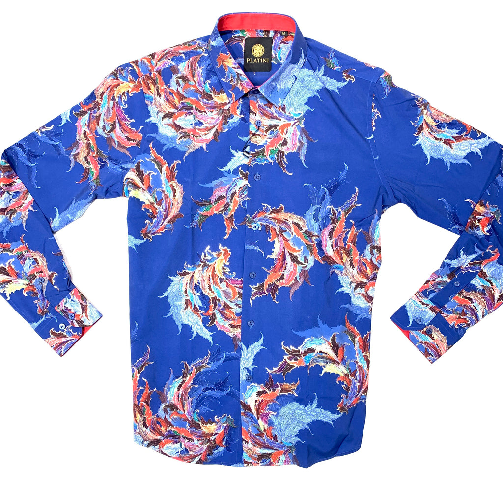 Platini Navy Casino Floral Button Up Shirt - Dudes Boutique