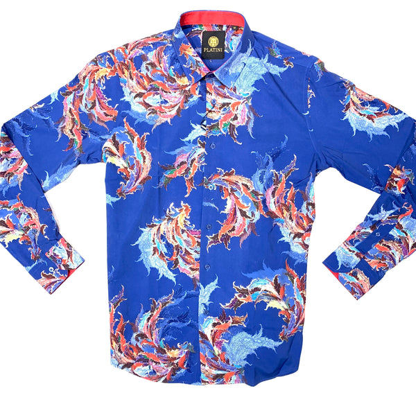 Platini Navy Casino Floral Button Up Shirt