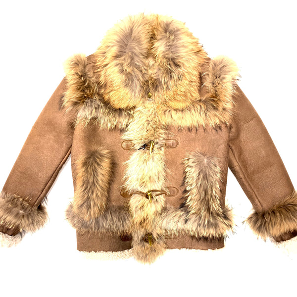 Kashani Cocoa Fluffy Red Fox Lined Shearling Jacket - Dudes Boutique