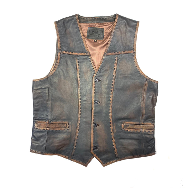 Scully Men's Rust Brown Buck Stitched  Lambskin Vest