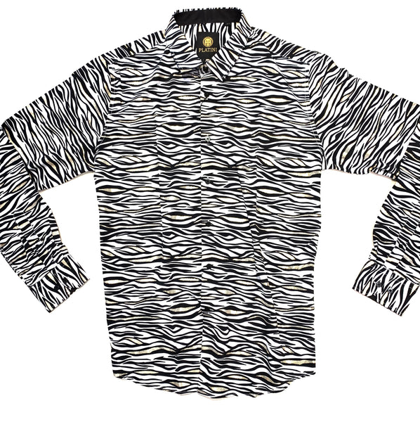 Platini Men's Zebra Print Button Up Shirt