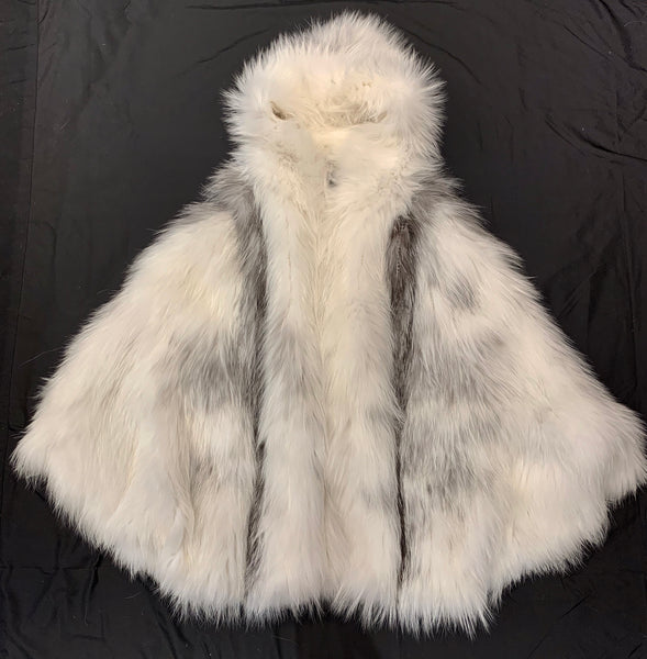 Kashani Ladies White Silver Fox Fur Poncho