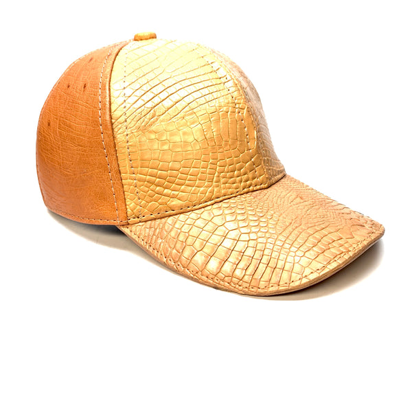 Kashani Beige Orange Alligator & Ostrich Quill StrapBack Hat - Dudes Boutique