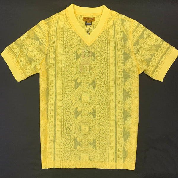 Prestige Canary Yellow Lace V-neck Shirt