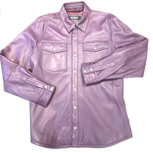 Kashani Men's Purple Lambskin Button-Up Shirt - Dudes Boutique