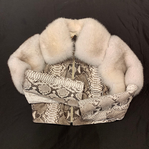 Kashani Ladies Arctic Fox White Python Jacket