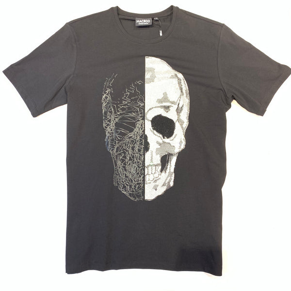 MACEOO Men's Tee Skull Half Black Crystal Short Sleeve Shirt