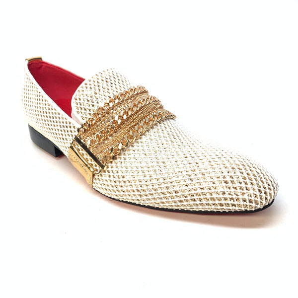 Fiesso White Gold Galaxy Dress Loafer - Dudes Boutique