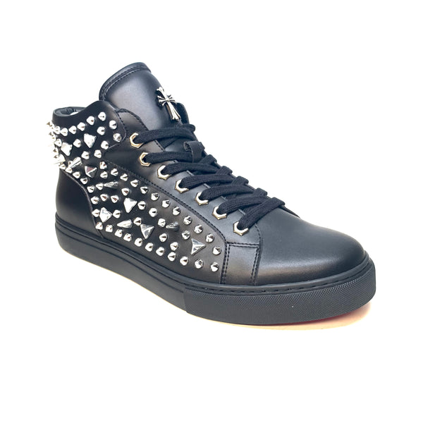 Fiesso Black Fully Spiked Hightop Sneakers - Dudes Boutique