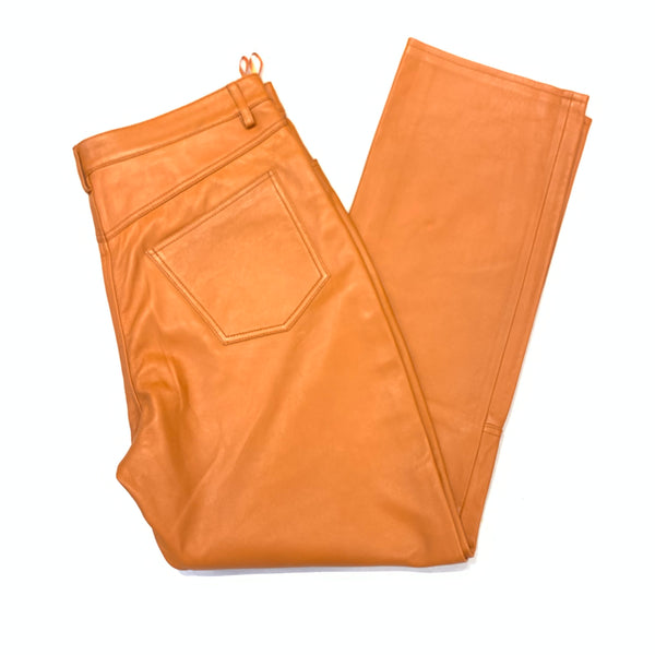 Kashani Men's Tangerine Lambskin Straight Cut Pant - Dudes Boutique