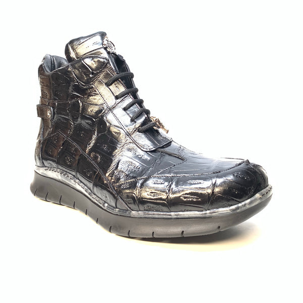 Mauri 8567 Black Crocodile Hightop Sneakers