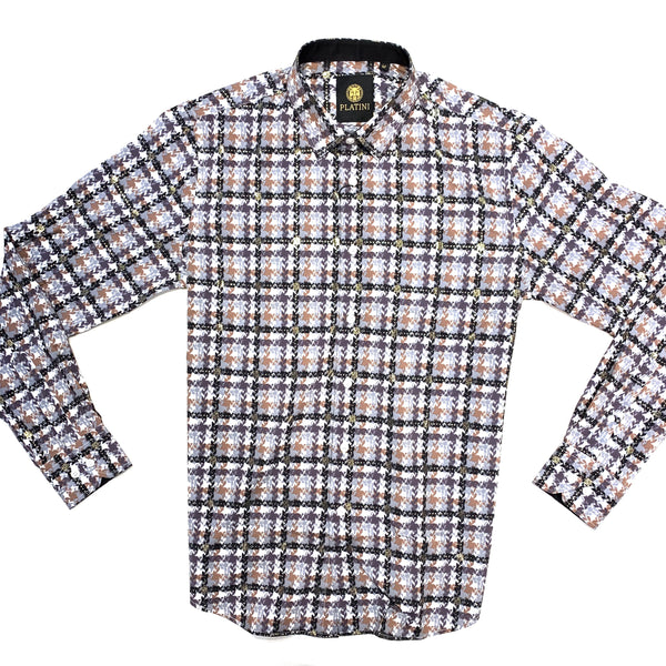 Platini Houndstooth Checkered Button Up Shirt