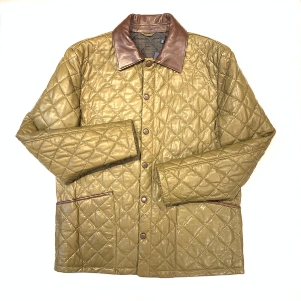 Barya NewYork British Quilted Olive Brown Lambskin Jacket - Dudes Boutique