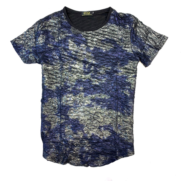 Gold Leaf Metallic Navy Blue T-Shirt - Dudes Boutique