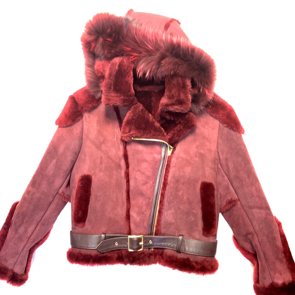 Kashani Ladies Wine Suede Fox Hooded Biker Shearling - Dudes Boutique
