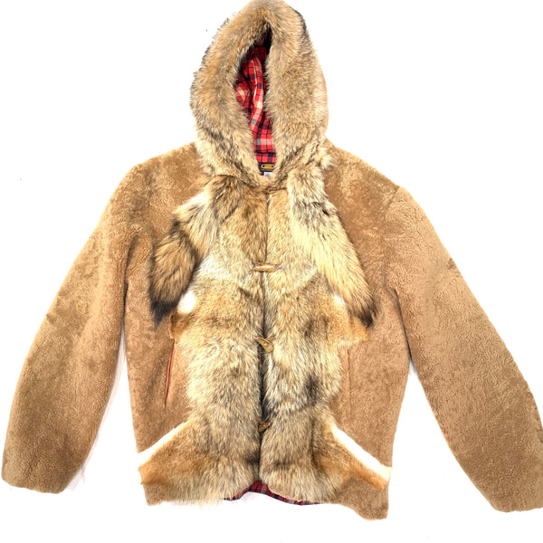 Kashani Natural Fox Tail Hooded Mouton Shearling - Dudes Boutique