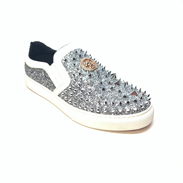 Encore White Crystal Spiked Glitter Low-top Sneakers - Dudes Boutique