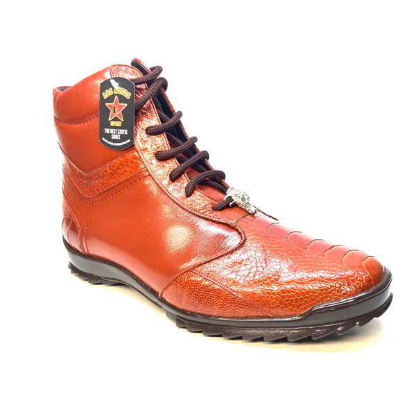Los Altos Cognac Ostrich Leg High-top Sneakers