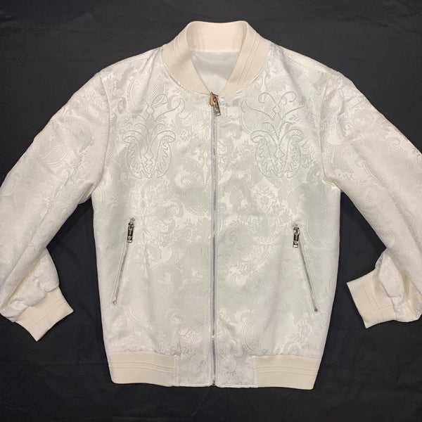 Manzini White Indian Paisley Bomber Jacket