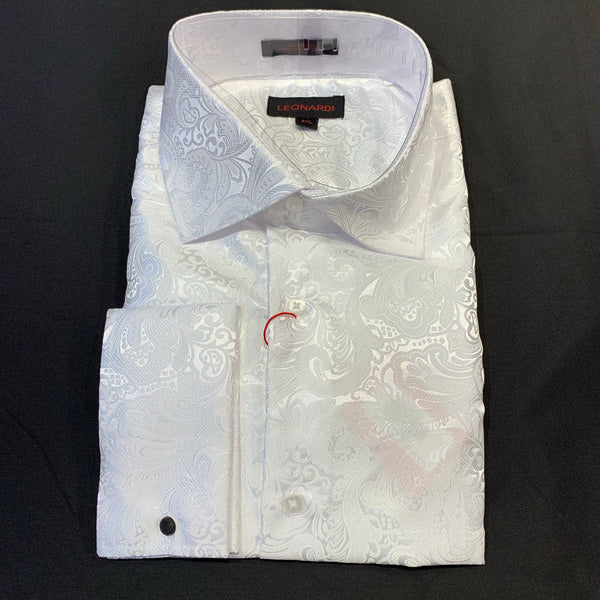 Leonardi 'White Spiral Paisley' French Cuff Button Up Shirt - Dudes Boutique