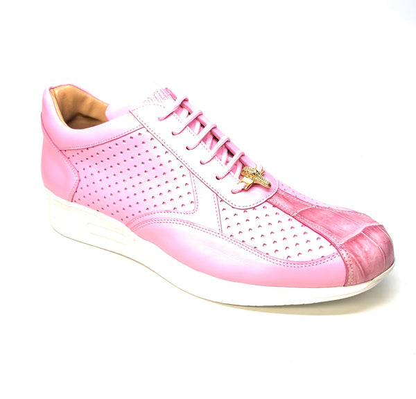 Mauri M770 Pink Crocodile Perforated Nappa Leather Sneaker