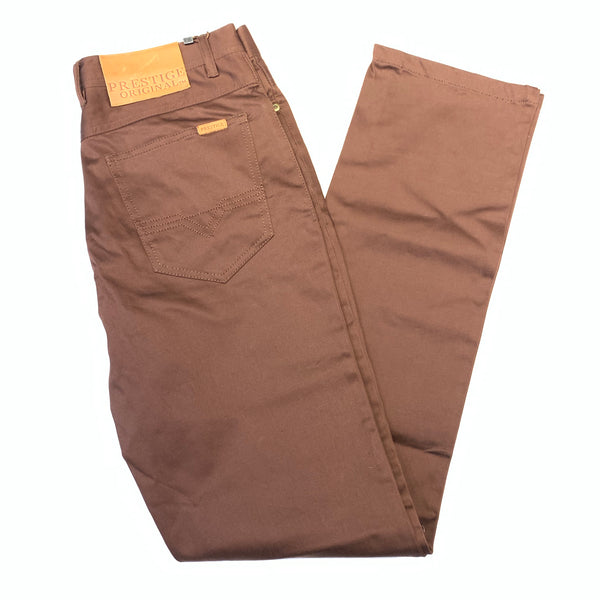 Prestige Chocolate Brown Sleek Straight Cut Trousers - Dudes Boutique