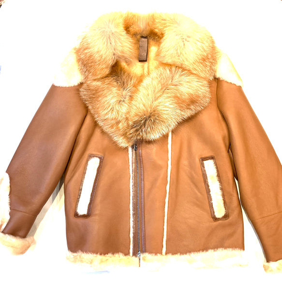Barya NewYork Tan Oversized Fox Collar Biker Shearling Coat - Dudes Boutique