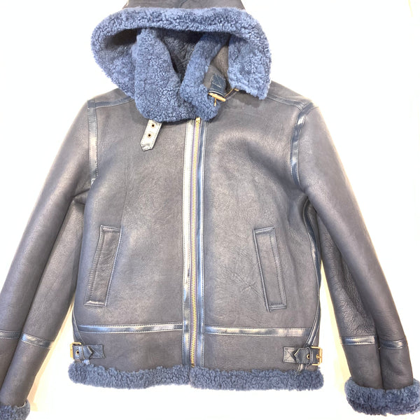 Kashani Navy Blue Hooded Shearling Coat - Dudes Boutique