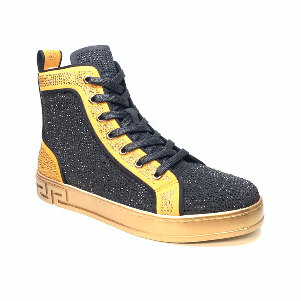 Fiesso Black Gold Full Crystal Hightop Sneakers