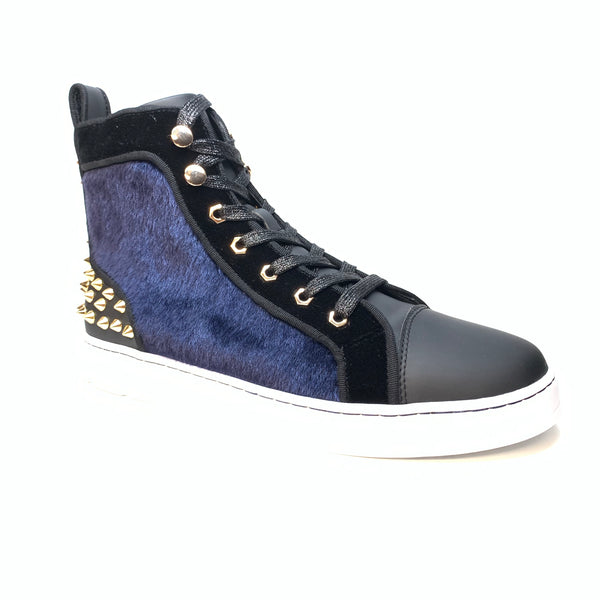 Fiesso Blue Suede Spiked High-top Sneakers