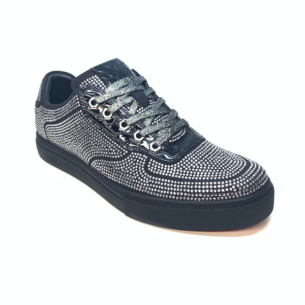 Fiesso Black Fully Loaded Crystal Low-top Sneakers - Dudes Boutique