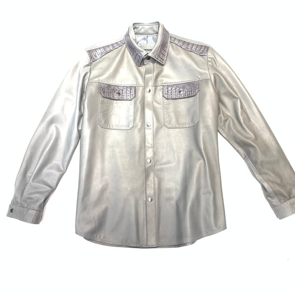 Kashani Men's Grey Alligator/LambSkin Shirt - Dudes Boutique