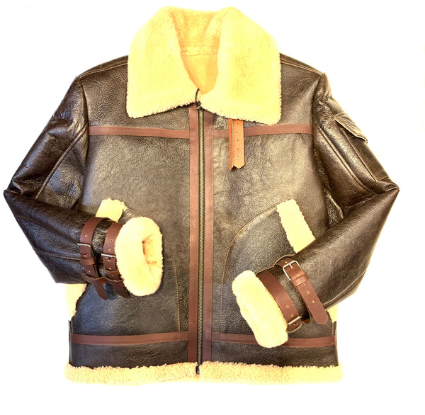 Kashani Chocolate Aviator Flight Shearling Jacket - Dudes Boutique