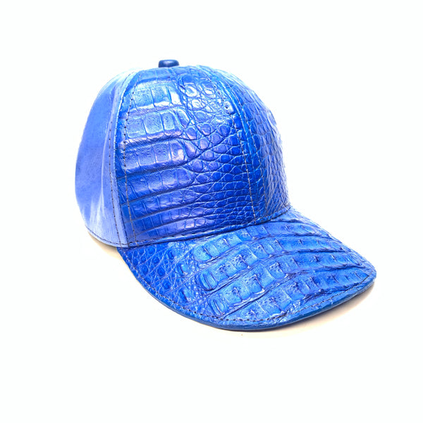 Kashani Royal Blue Alligator & Ostrich Quill StrapBack Hat