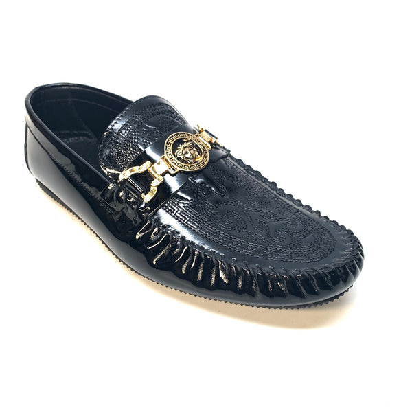 Sigotto Black Milan Leather Medusa Driver Loafers - Dudes Boutique