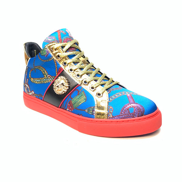 Fiesso Lion Key Blue Gold Sneakers - Dudes Boutique