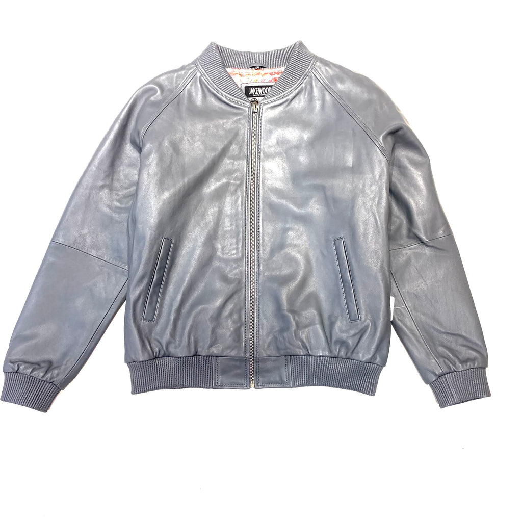 Kashani Grey Naked Lamb Skin Bomber Jacket - Dudes Boutique