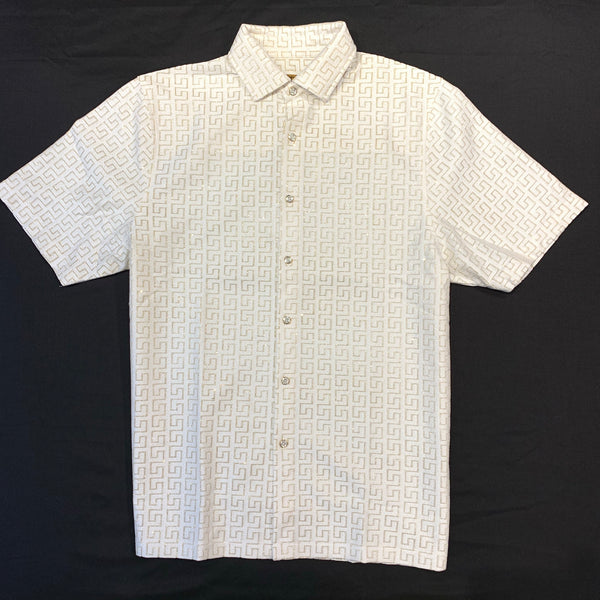 Prestige White Gold Laced Linen Shirt - Dudes Boutique