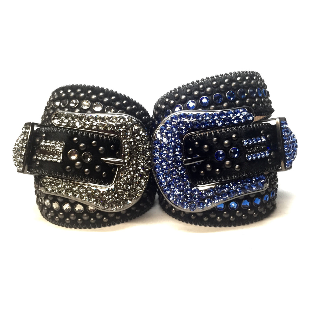 B.B. Simon Fully Loaded Custom Pony Hair Swarovski Crystal Belt - Dudes Boutique