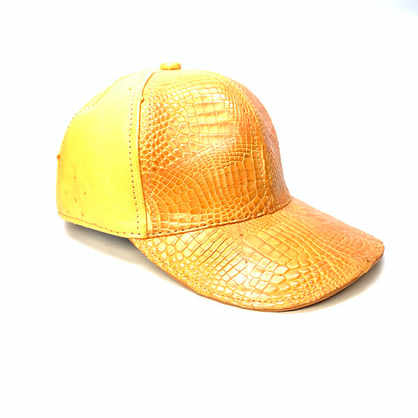 Kashani Orange Fanta Alligator & Ostrich Quill StrapBack Hat