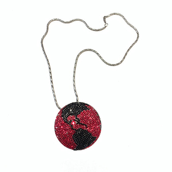 b.b. Simon Black & Red Globe Fully Loaded Swarovski Crystal Necklace