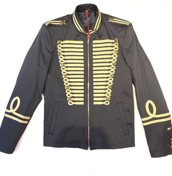Mondo Royal Black Gold Mandarin Jacket - Dudes Boutique