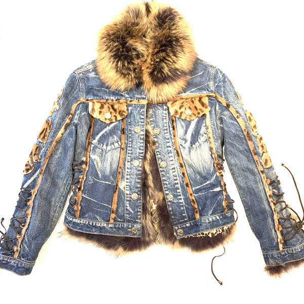 Giorgio Rotti Natural Fox Denim Biker Jacket