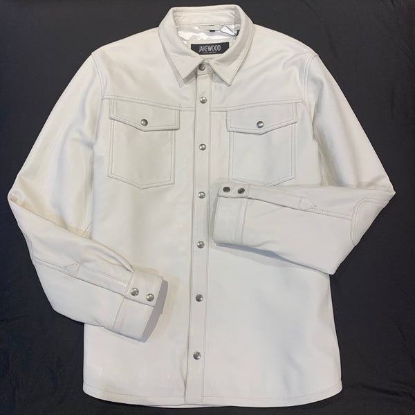 Kashani Men's White Lambskin Button-Up Shirt - Dudes Boutique