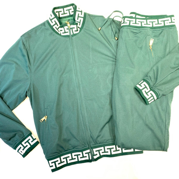 Prestige Green Perforated Greek Key Jogger Set - Dudes Boutique