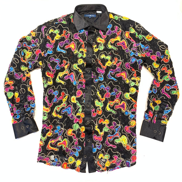 Lanzzino Multi Stitched Patched Long Sleeve Shirt - Dudes Boutique